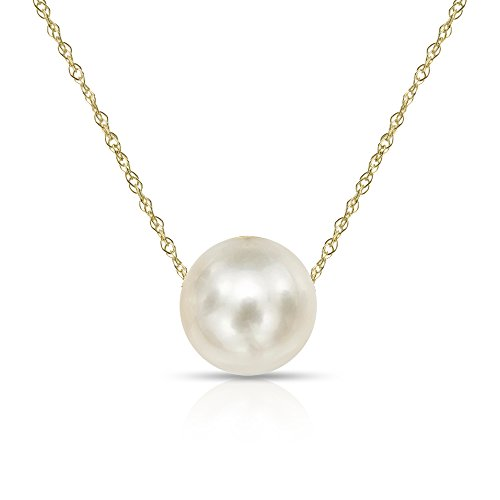 14K Yellow Gold Chain with 11-11.5mm White Freshwater Cultured Pearl Floating Pendant Necklace, 18
