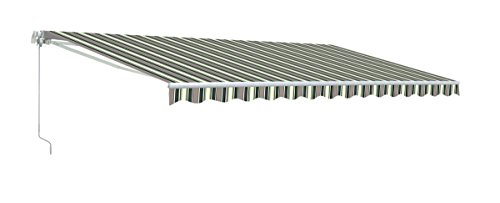 ALEKO AWM13X10MSGREEN58 Retractable Motorized Patio Awning 13 x 10 Feet Multi-Stripe Green