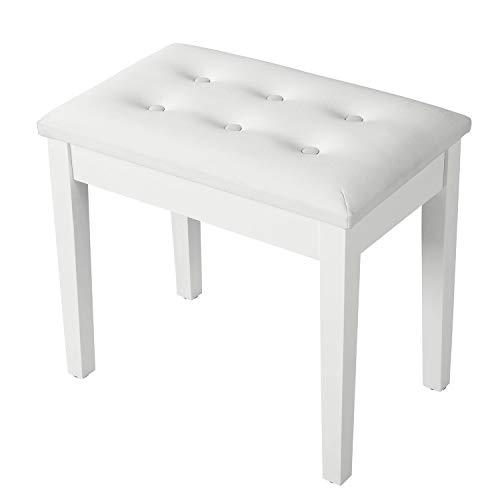 SONGMICS Padded Wooden Piano Bench Stool with Music Storage White ULPB55WT (Renewed)