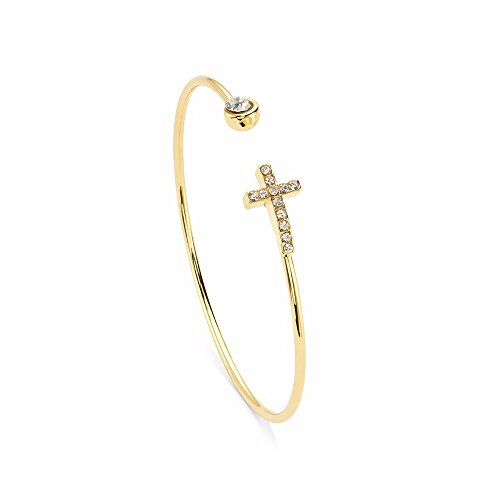7 Charming Sisters Horizontal Cross Bracelet - 'Cross My Heart' By Sideways Cross Bracelet In Gold And Silver With Crystal Cross Rhinestone Jewelry - Thin Open Cuff Bracelet - Open Heart Cuff