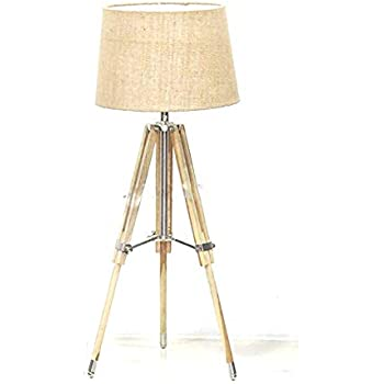 Nauticalmart Royal Designer Natural Wood Tripod Table Lamp