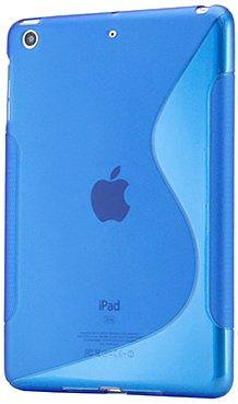 Gearonic 2 tone Transparent S Shape TPU Gel Soft Back Cover Case Skin for Apple iPad mini, Blue (AV-5127DPUIB)