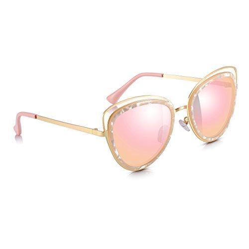 100 Oro Sunglass sol amp; UV400 con Junkie UV Maxi Ladies Cat Gafas gafas Rosa protección Eye y dorados de brazos qTrq8C