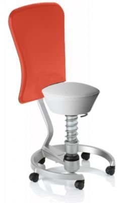 Aeris Swopper Classic - Bezug: Care / Weiß | Polsterung: Standard | Fußring: Titan | Spezial-Rollen für Teppichböden | mit Lehne und rotem Microfaser-Lehnenbezug | Körpergewicht: MEDIUM