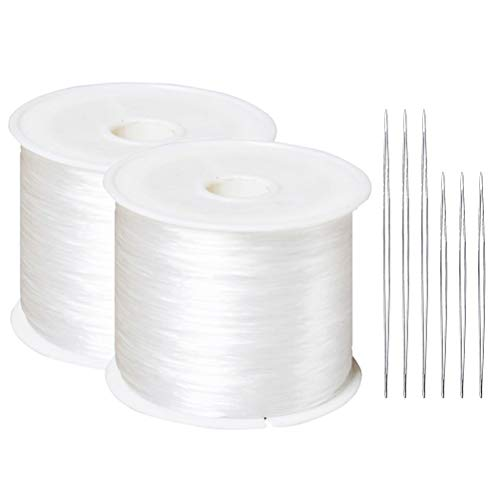 Knot Stretch Cord (Wode Shop 2 Rolls(60 m/roll) Elastic Stretch Beading Thread, Clear White Polyester Crystal String Craft Jewelry Bracelet Making Cord String with 6 Pieces Beading Needles)