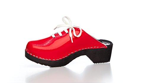 Original SWE Clogs - Swedish Clogs, PU Patent Leather Clogs - Red, UK 6.5