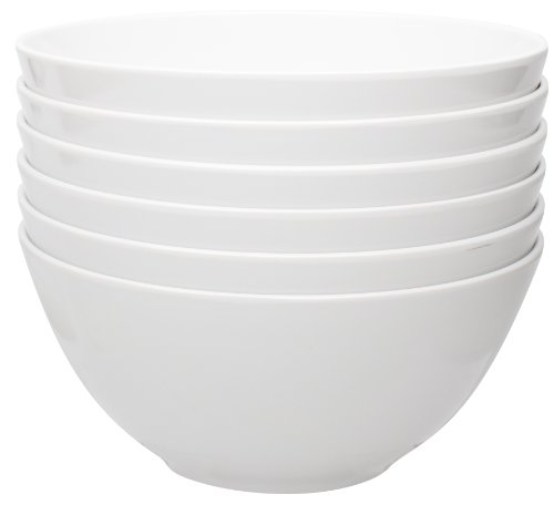 Zak Designs Ella 6-inch Plastic Bowls, Eggshell White, 6 piece set (Designs Zak Pop)
