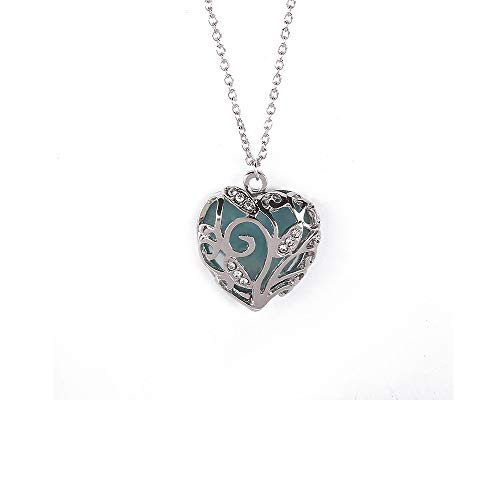 SPHTOEO Glow in Dark Women Necklace Hollow Out Heart Crystal Pendant Luminous Necklace (Blue)