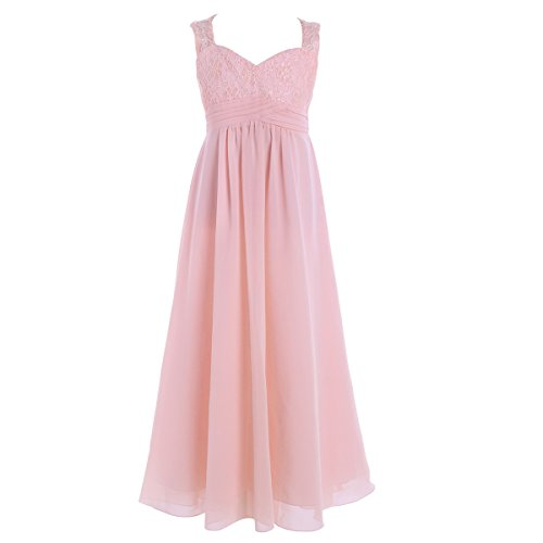 Women Lace Waisted Full Bridesmaid Party Dress Pink - 7