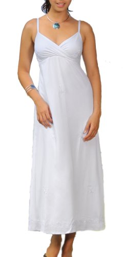 1 World Sarongs Womens Lined Long Summer Embroidered Dress White