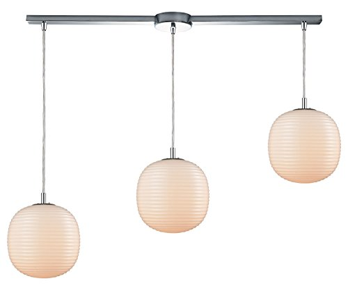 - Beehive 3 Light Linear Bar Pendant in Polished Chrome with Opal White Beehive Glass