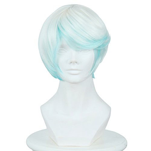 Cfalaicos 13.8'' Synthetic Hair Game Tales Of Zestiria Short Blue White Wig Cosplay Men -