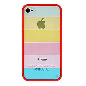 MOM Open-Face Style Rainbow Designed Back Case for iPhone 4/4S (Assorted Colors) , Rose