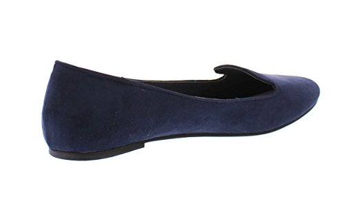 Support With On Suede Arch Slip Navy Flat Loafer Women's Gold Shoes Comfort Faux Jasper Toe Smoking qw6wR7v