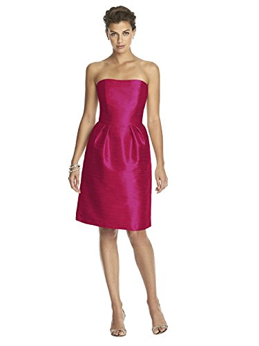 Sangria Dessy Sung Shaped Midriff Cocktail Dress Size with Alfred Length Inset Women's Strapless 6 Dupioni w7qz51
