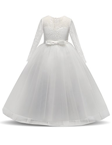 NNJXD Girl Long Sleeves Embroidery Tulle Princess Wedding Dress Size (140) 8-9 Years White by NNJXD