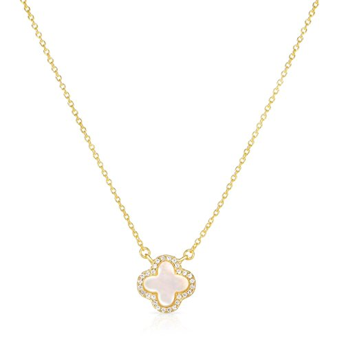 Sterling Silver Mother Of Pearl And Cubic Zirconia Four Leaf Clover Necklace With Adjustable Length. (14K Yellow Gold (Pearl Clover Necklace)