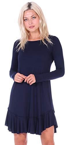 Ruffle Dress Knit (Popana Women's Casual Long Sleeve Knee Length Ruffle Hem Midi Dress Made in USA - Navy Medium)