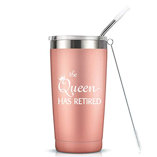 Retirement Gifts for Women Her Coworker - The Queen Has Retired Gift Cup - 20 Oz Insulated Stainless Steel Mug Tumbler with Lid for Mom Grandma Sister Friend Auntie (Best Retirement Gifts For Her)