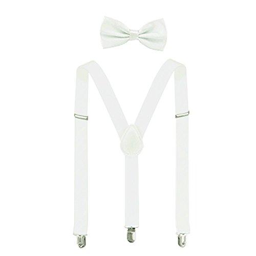 Suspenders For Men,Women Adjustable Suspends Bow Tie Set Solid Color Y Shape (White)]()