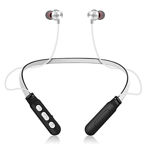 Bluetooth Headphones Neckband Wireless Headset Super Hi-Fi Stereo Deep Bass Earphone Noise Cancellation Magnetic Earbuds Built-in Mic Waterproof Sweatproof for Running Sports Workout (Black+White) Black Super Bass Earbuds