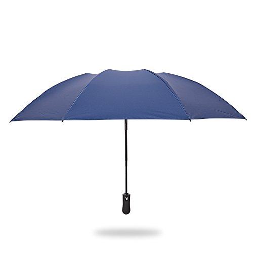Automatic Open Reverse/Inverted Umbrella (Black/Navy Blue) - 4