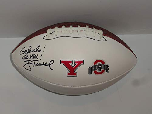 JIM TRESSEL SIGNED FOOTBALL OHIO ST. BUCKEYES YOUNGSTOWN ST. PENGUINS STATE