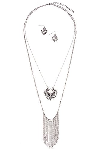 GlitZ Finery ELONGATED FAUX GEM ACCENT PENDANT CHAIN TASSEL NECKLACE SET (Antique Silver)