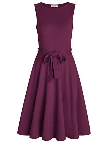 Plum Sleeveless Dress - PintageWomen'sBoatNeckSleevelessALineDresswithBelt L Plum