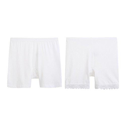 Mujer De Ropa Interior Cómoda Atractiva Del Cordón Pantalones De Cintura Alta Tres Puntos Seguridad Respirables De Las Señoras Planas Polainas [2 Paquetes] White