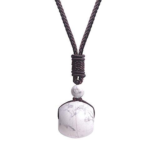 - iSTONE Unisex Genuine Round Gemstone Barrel Beads Pendant Necklace 25 inch (White Howlite)
