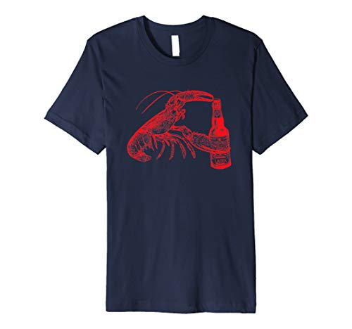 Beer Drinking Lobster Funny Graphic Tee Shirt - Red