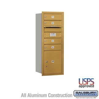 SalsburyIndustries 3710SA-04GRU Single Column 4C Horizontal Mailbox Rear Loading 4 Mb1 Doors44; Gold Single Column Rear Loading