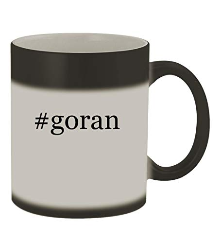 #goran - 11oz Color Changing Hashtag Sturdy Ceramic Coffee Cup Mug, Matte Black ()