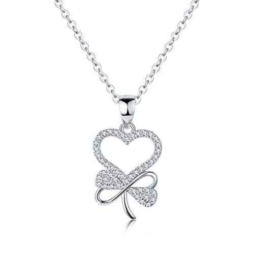 Women and Girls Four Leaf Love Heart White Gold Plated 5A CZ 925 Sterling Silver Jewelry Set pendant necklace