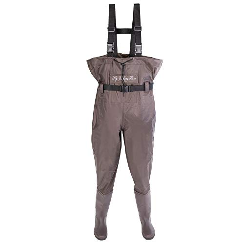 FLY FISHING HERO Chest Waders for Men with Boots Hunting Waders Fishing Boots Neoprene Waders for Women Free Hangers Included (Brown, 11)