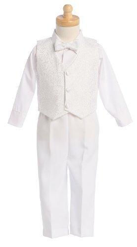 Lito White Boys Embroidered Jacquard Christening Baptism or Wedding Vest Set - Size 4T ()