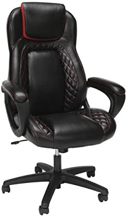OFM Essentials Collection Racing Style SofThread Leather High Back Office Chair, in Red