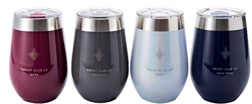 Yacht Club LX 12 oz Insulated Stemless Wine Glass Tumblers with Velvet-Wrapped Pouches Cosmopolitan Collection, Set of 4