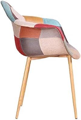 ZONS ORAZ Chaises/Fauteuil Patchwork aux Coloris différents avec empiètement en métal Imitation Bois,