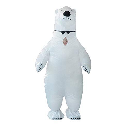 HHARTS Adult White Polar Bear Inflatable Costume Blow up Costume Fancy Dress Costume for Halloween Cosplay Party Christmas ()