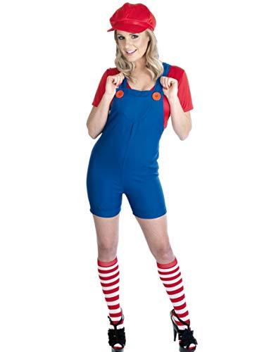 Ladies Mario or Luigi Plumber Cartoon 1980s Halloween Fancy Dress Costume Outfit UK 8-30 Plus Size (UK -