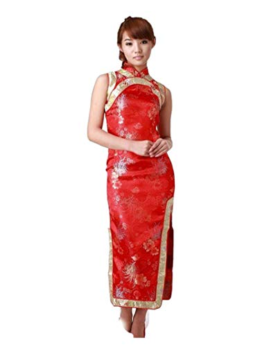 GoodOrient Silk Vintage Chrysanthemum Casual Chinese Dress Cheongsam (S, Red)