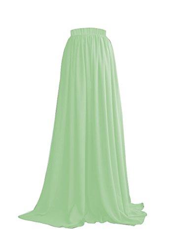 Chiffon Haute Mariage Soire Femme Menthe Jupe Jupe CoutureBridal pour Longue Maxi Taille ZwvxS8Yq