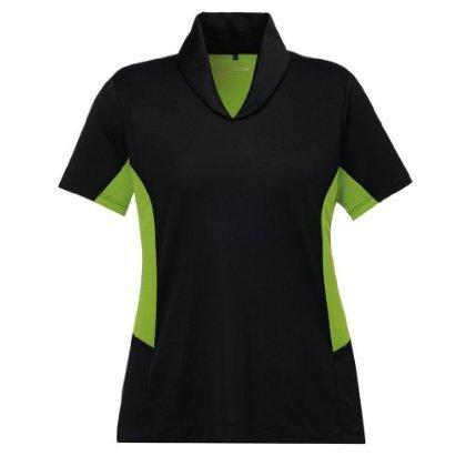 Ash City Womens Rotate Performance Polo (X-Small, Black/Acid Green)