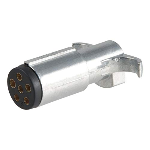 CURT 58080 Trailer-Side 6-Way Round Trailer Wiring Harness Plug, 6-Pin Trailer Wiring ()