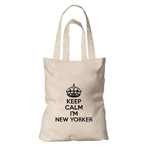 (Keep Calm, I'M New Yorker New York Organic Cotton Tote Bag Tote)