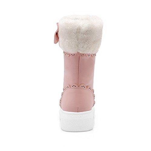 Balamasa Ragazze Filato Oro Bowknot Intagliato Fiore Piattaforma Imitato Stivali Di Pelle Rosa