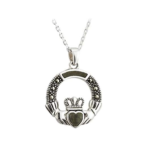 - Claddagh Necklace Connemara Marble & Marcasite Made in Ireland