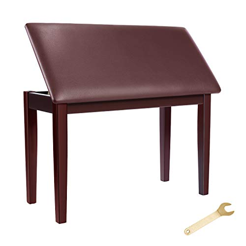 Neewer Wooden Duet Piano Bench Stool Keyboard Bench - Padded Cushion Deluxe Comfort with Music Storage for Piano, Keyboard, Vanity Table, Music Books/Sheet, etc(Rosewood)